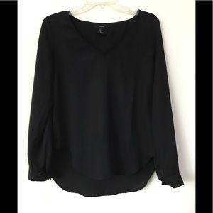 Forever 21 black sheer long sleeve blouse